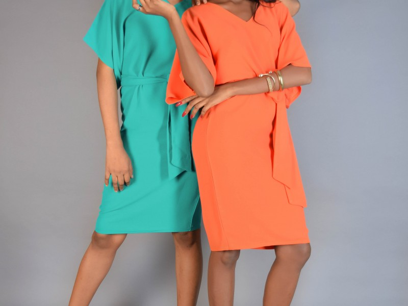 Hanifa Kaftan Dress- Orange.Green