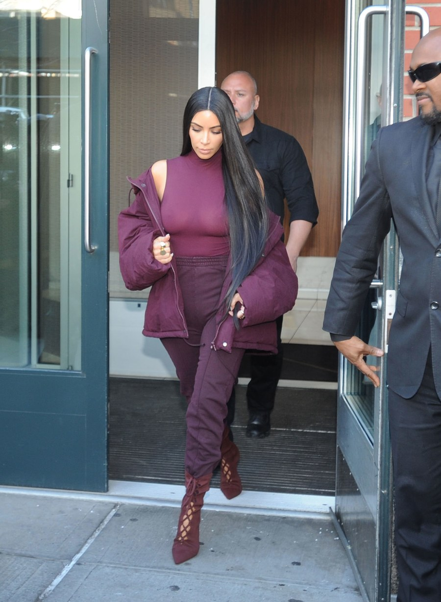 d1b9fd9e4 ... up at this season s show in head to toe Yeezy ensemble in burgundy.  With high-waisted trousers tucked in strappy boots