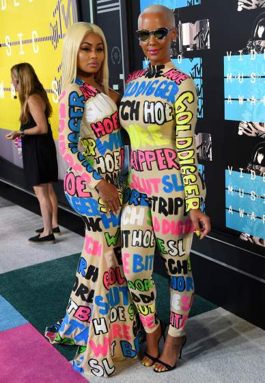 LOS ANGELES, CA - AUGUST 30:  Models Blac Chyna (L) and Amber Rose attend the 2015 MTV Video Music Awards at Microsoft Theater on August 30, 2015 in Los Angeles, California.  (Photo by Larry Busacca/Getty Images)