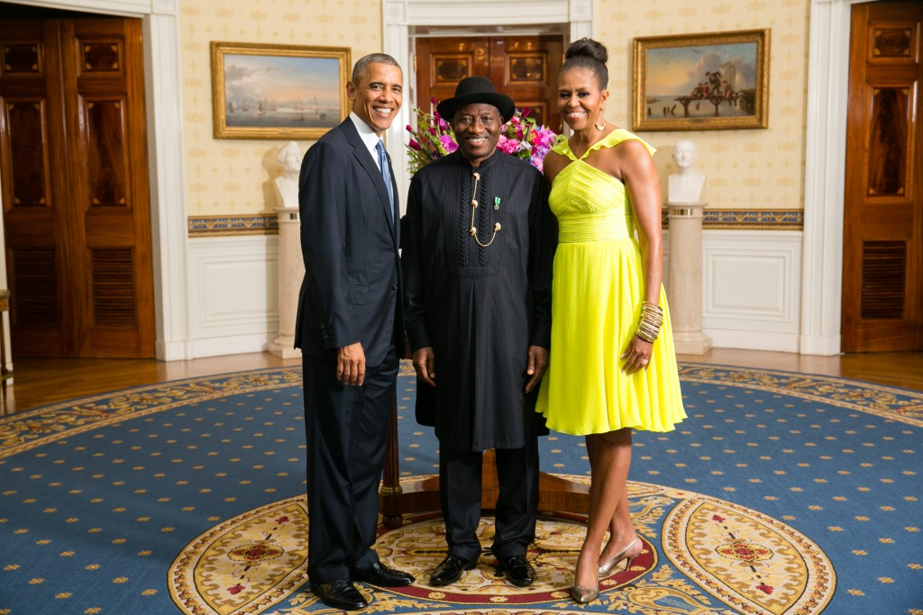 President Barack Obama and First Lady Michelle Obama greet His Excellency Goodluck Ebele Jonathan, President of the Federal Republic of Nigeria, in the Blue Room during a U.S.-Africa Leaders Summit dinner at the White House, Aug. 5, 2014. (Official White House Photo by Amanda Lucidon)