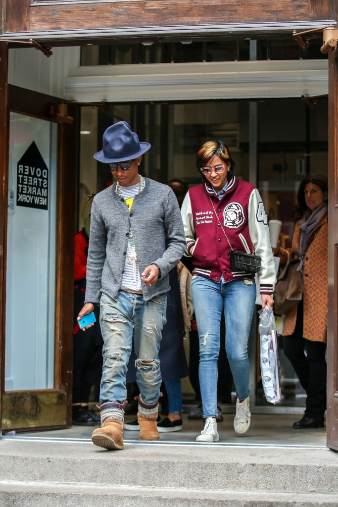 Pharrell Williams and his wife Helen Lasichanh are seen shopping at Dover Street Market, NYC where they spent nearly three hours. Pictured: Pharrell Williams and Helen Lasichanh Ref: SPL745920 250414 Picture by: Splash News Splash News and Pictures Los Angeles: 310-821-2666 New York: 212-619-2666 London: 870-934-2666 photodesk@splashnews.com