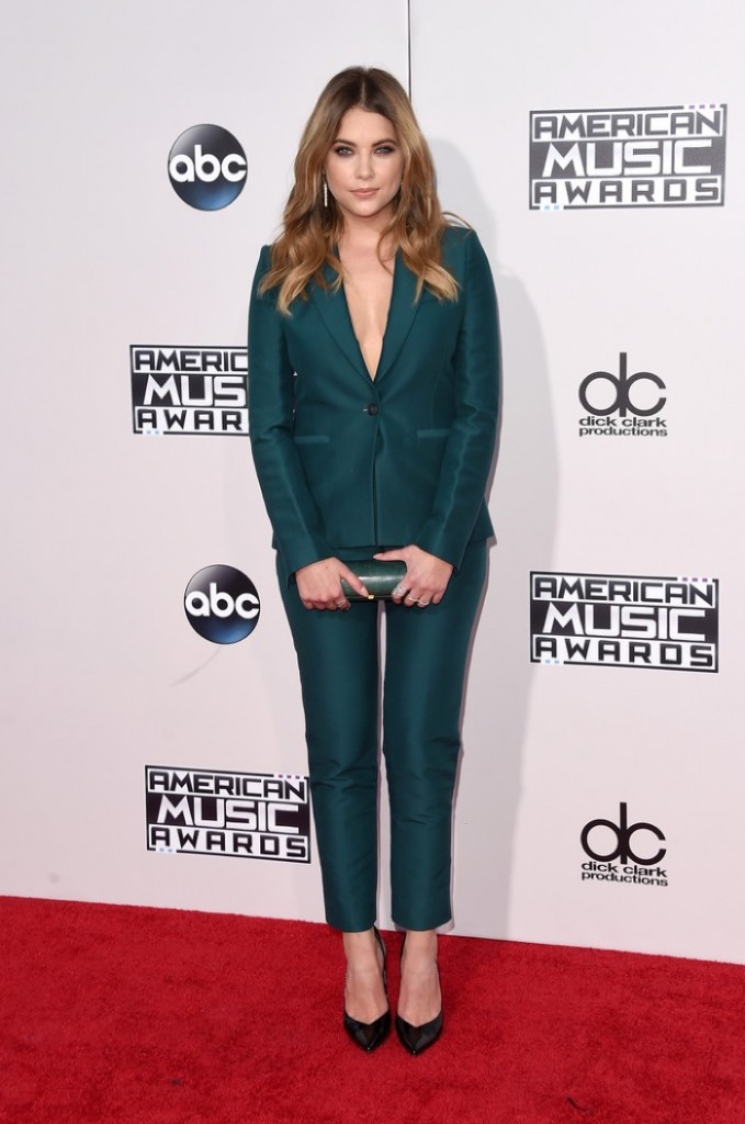 Ashley-Benson-2015-American-Music-Awards-Green-Pant-Suit