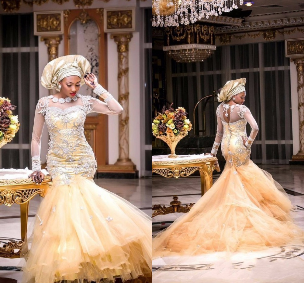 Nigerian-Wedding-Dresses-Long-Sleeve-Mermaid-Floor-Length-Court-Train-Wedding-Dress-Beading-Applique-Tulle-Vestido-2