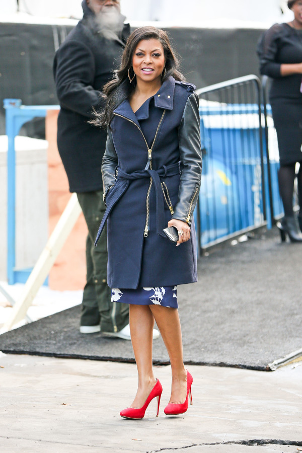 Taraji P. Henson wears red pumps and is all smiles waving to fans outside the Lincoln Center for NYFW in New York City. Pictured: Taraji P. Henson Ref: SPL955022  180215   Picture by: Felipe Ramales / Splash News Splash News and Pictures Los Angeles:310-821-2666 New York:212-619-2666 London:870-934-2666 photodesk@splashnews.com