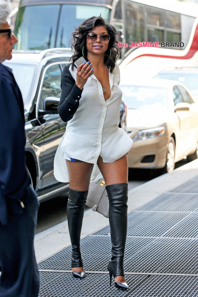Actress Taraji P. Henson spotted been surprise by her fans while waiting for her outside her hotel in New York City Pictured: Taraji P. Henson Ref: SPL784566  180614   Picture by: Santi/Splash News Splash News and Pictures Los Angeles:310-821-2666 New York:212-619-2666 London:870-934-2666 photodesk@splashnews.com
