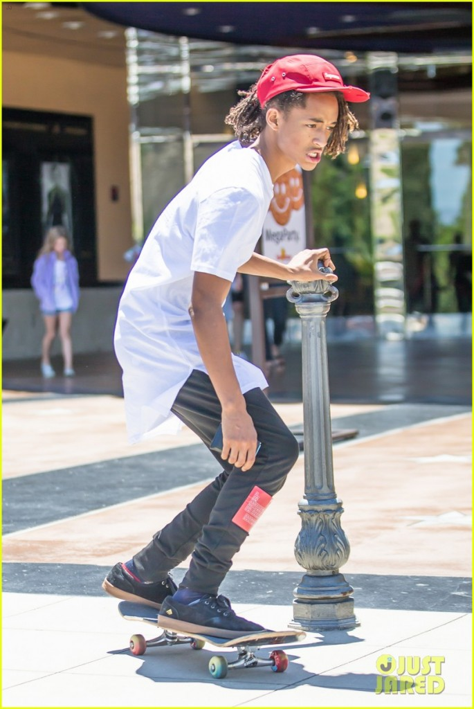 *EXCLUSIVE* Calabasas, CA - Jaden Smith was seen wearing a shirt from his MSFTS clothing label, while skateboarding in the Calabasas Commons. The back of the shirt printed with a scientific table, which is interesting given his famous parent's rumored Scientology background. AKM-GSI        July 25, 2015 To License These Photos, Please Contact : Steve Ginsburg (310) 505-8447 (323) 423-9397 steve@akmgsi.com sales@akmgsi.com or Maria Buda (917) 242-1505 mbuda@akmgsi.com ginsburgspalyinc@gmail.com