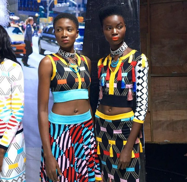 Models wearing South African designer, Maxhosa by Laduma