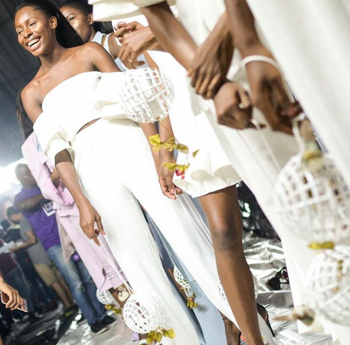 Andrea Iyamah models look pretty excited about stepping on the runway and they gave a brilliant show