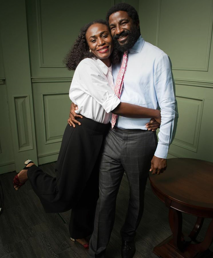 Designer and fashion entrepreneur, Omoyemi Akerele all loved with her husband