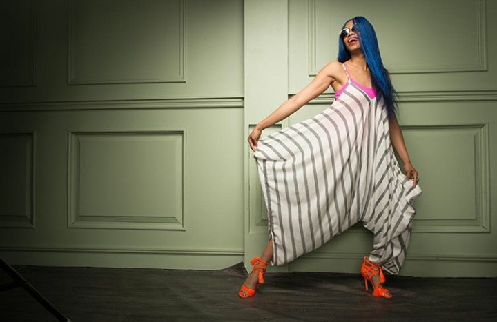 Designer, Kiki Kamanu shows off her new essouira one-piece