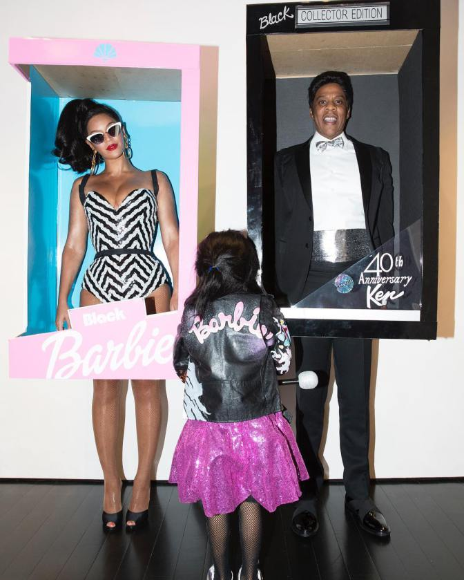 Beyonce, Jay Z and Blue Ivy as Barbie, Ken and a little Barbie