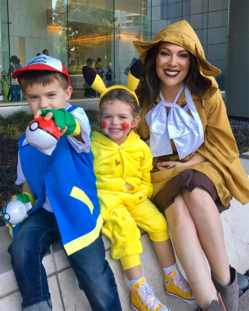 Former Mistresses actress, Alyssa Milano is dressed up with her kids as Pokemon GO and its so cute