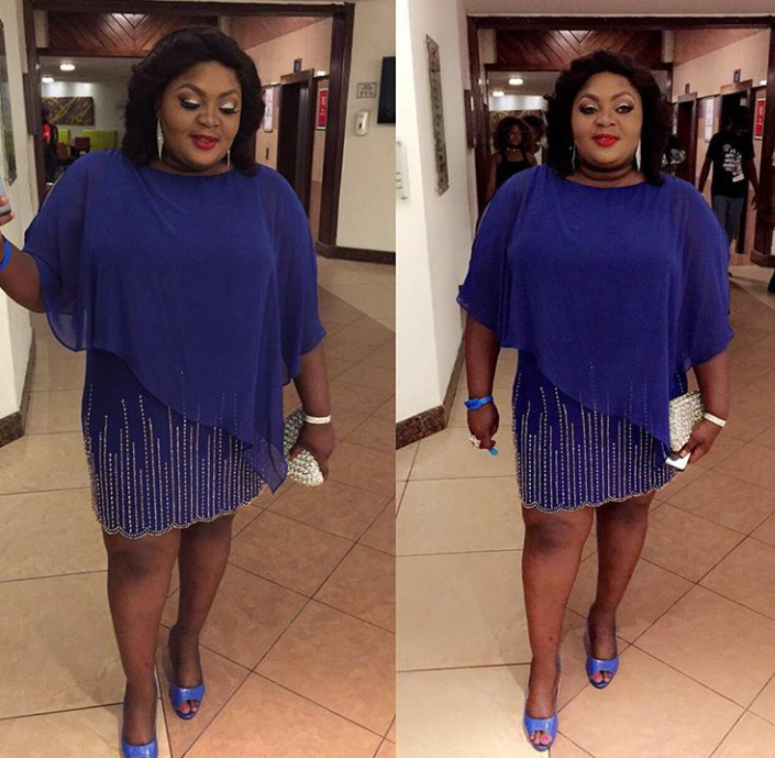 Eniola Badmus is bold and beautiful in blue and gold. And yes, the cape is a winner...