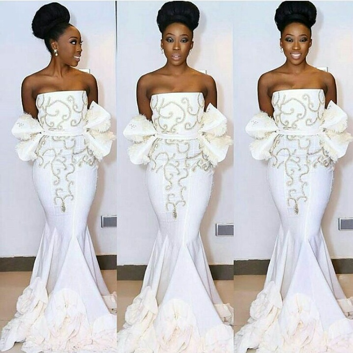 Beverly Naya chose this custom-made hand beaded gown inspired by Moroccan art, made by Weiz Dhurm Franklin