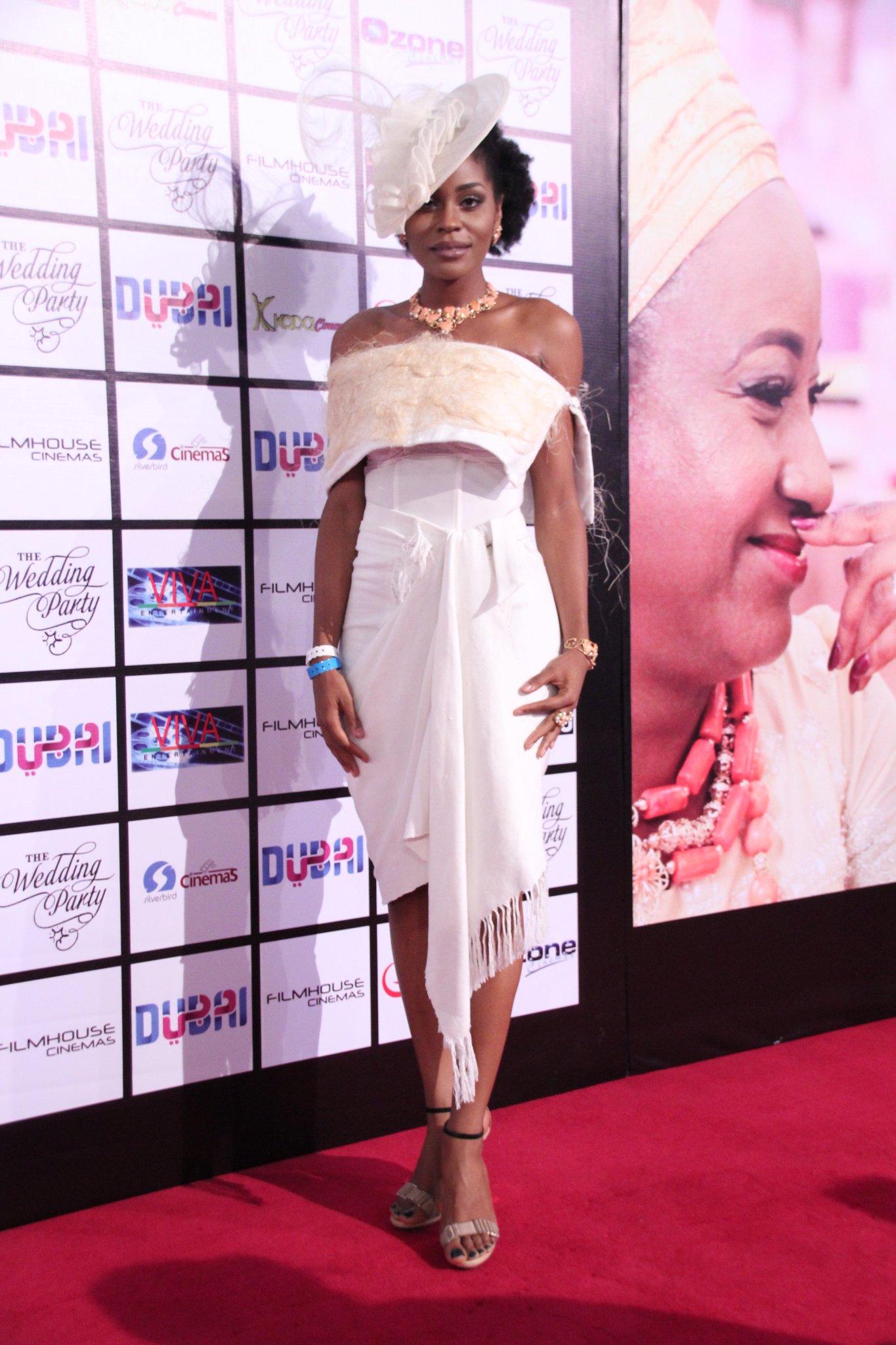 Somkele Idhalama wears a top and skirt by Nigerian label, Nkwo