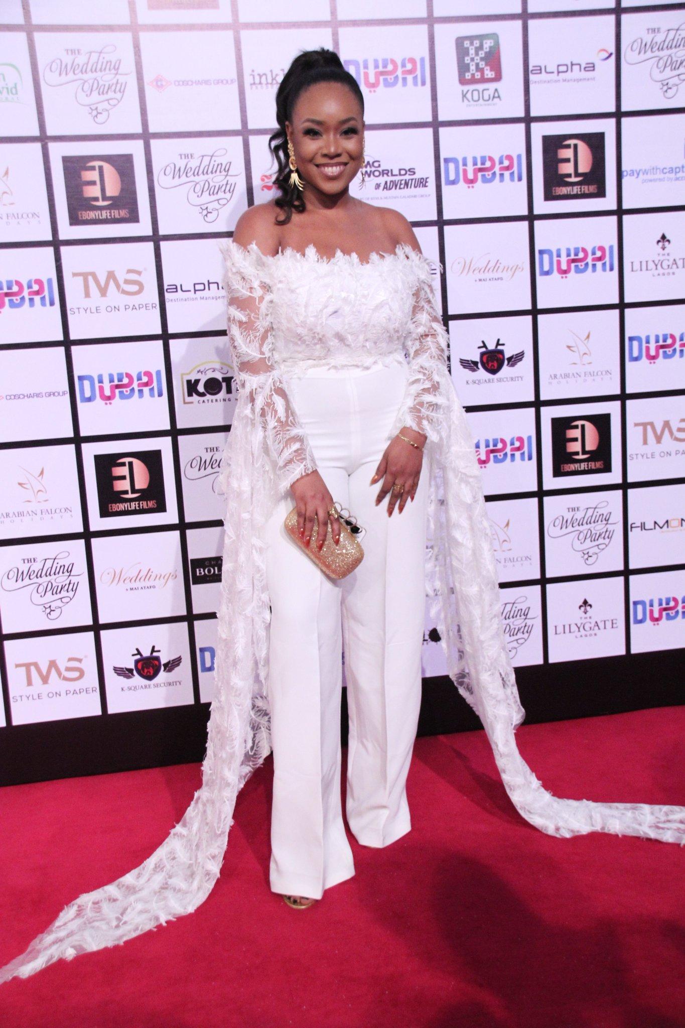 Mimi Onalaja wears a jumpsuit by Tubo