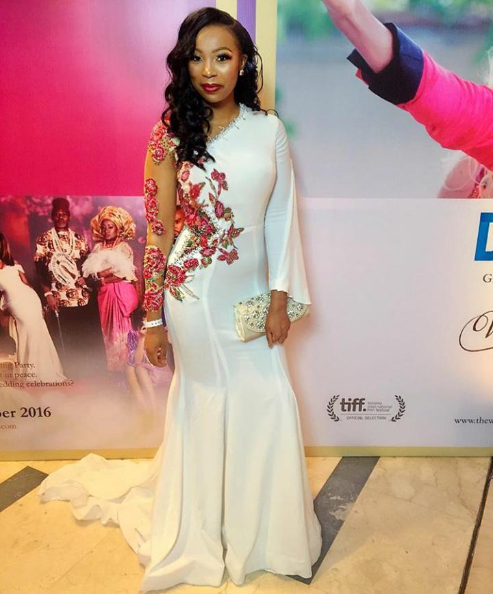 Bolanle Olukanni's floor-length dress by Ghanaian designer, Pistis