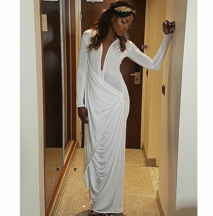 Seyi Shay rocks dress by Ejiro Amos Tafiri, styled by Moashy Styling